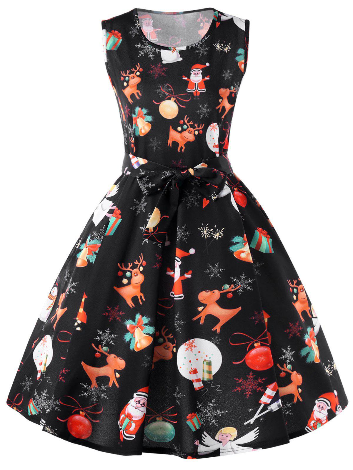 Fashion Christmas Reindeer Sleeveless Fit and Flare Dress