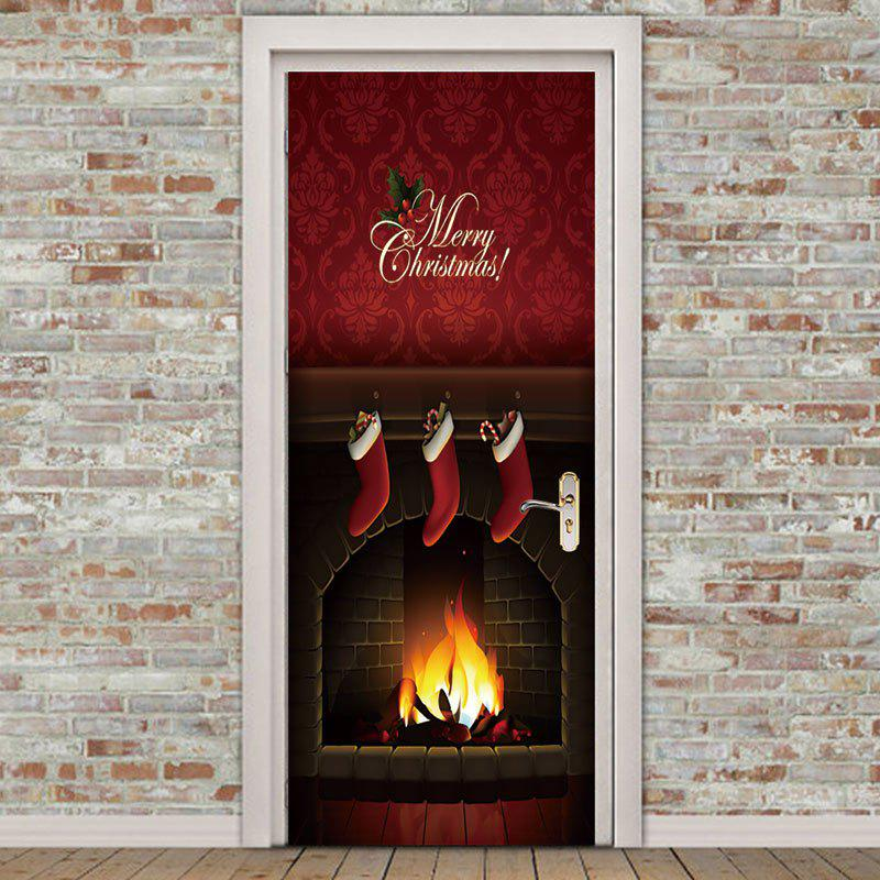 Hot Environmental Removable Christmas Fireplace Printed Door Stickers