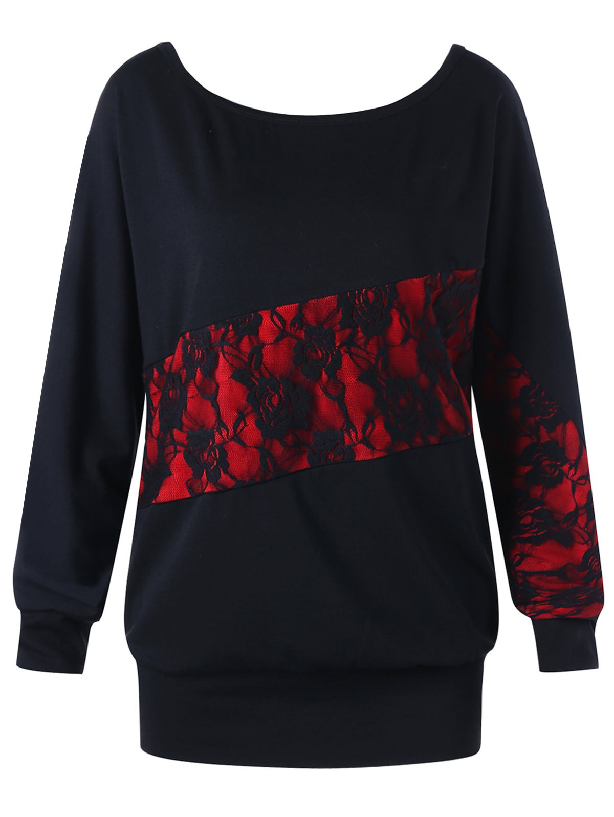 Outfits Lace Panel Plus Size Sweatshirt