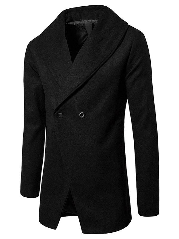 Affordable Shawl Collar Convertible Butoon Wool Blend Coat