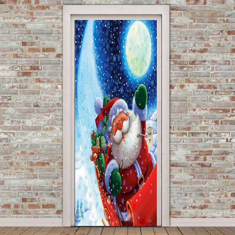 Buy Santa Claus with Moon Printed Pattern Environmental Removable Door Stickers