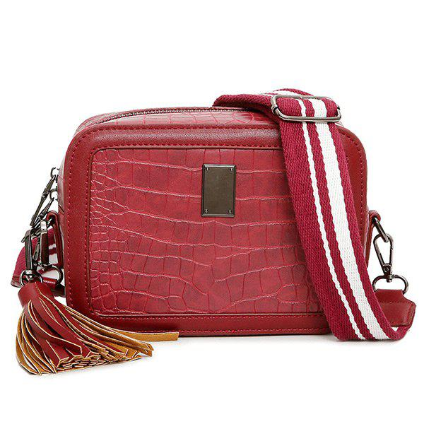 Chic Stone Pattern Tassel Crossbody Bag
