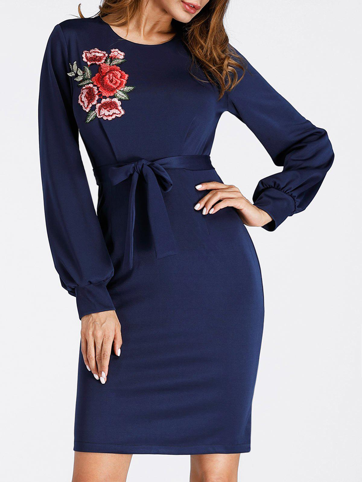 Latest Embroidered Puff Sleeve Mini Bodycon Dress