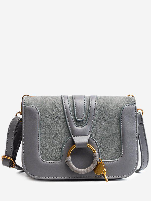 Shops Faux Leather Round Ring Crossbody Bag