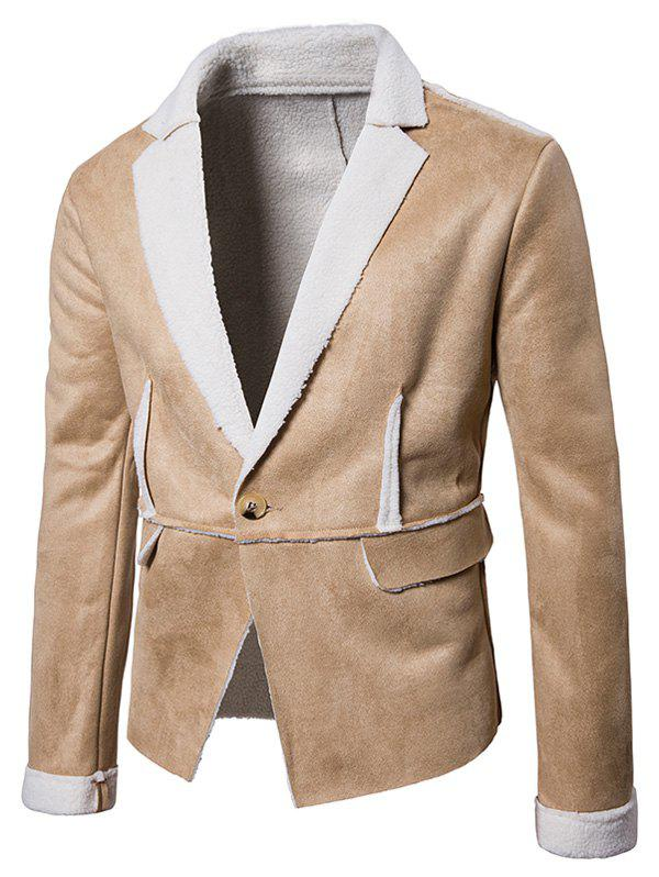 Fancy One Button Lapel Collar Suede Shearling Jacket