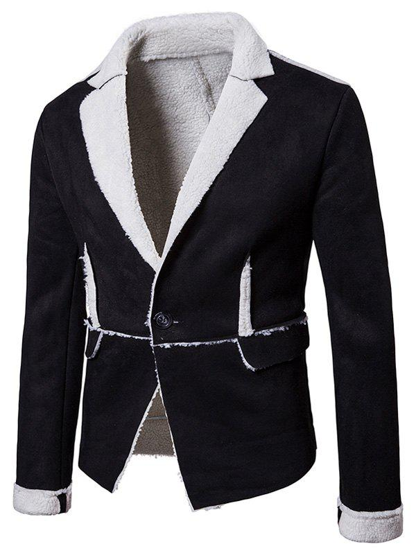 Online One Button Lapel Collar Suede Shearling Jacket