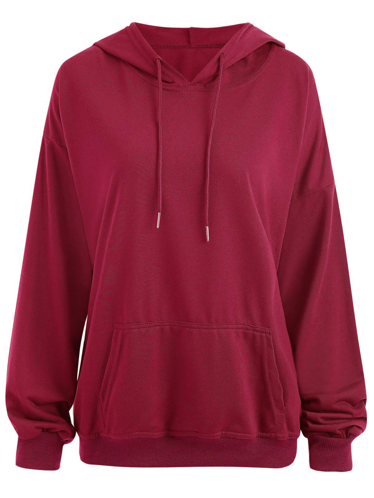 Trendy Drop Shoulder Plus Size Plain Hoodie with Pocket
