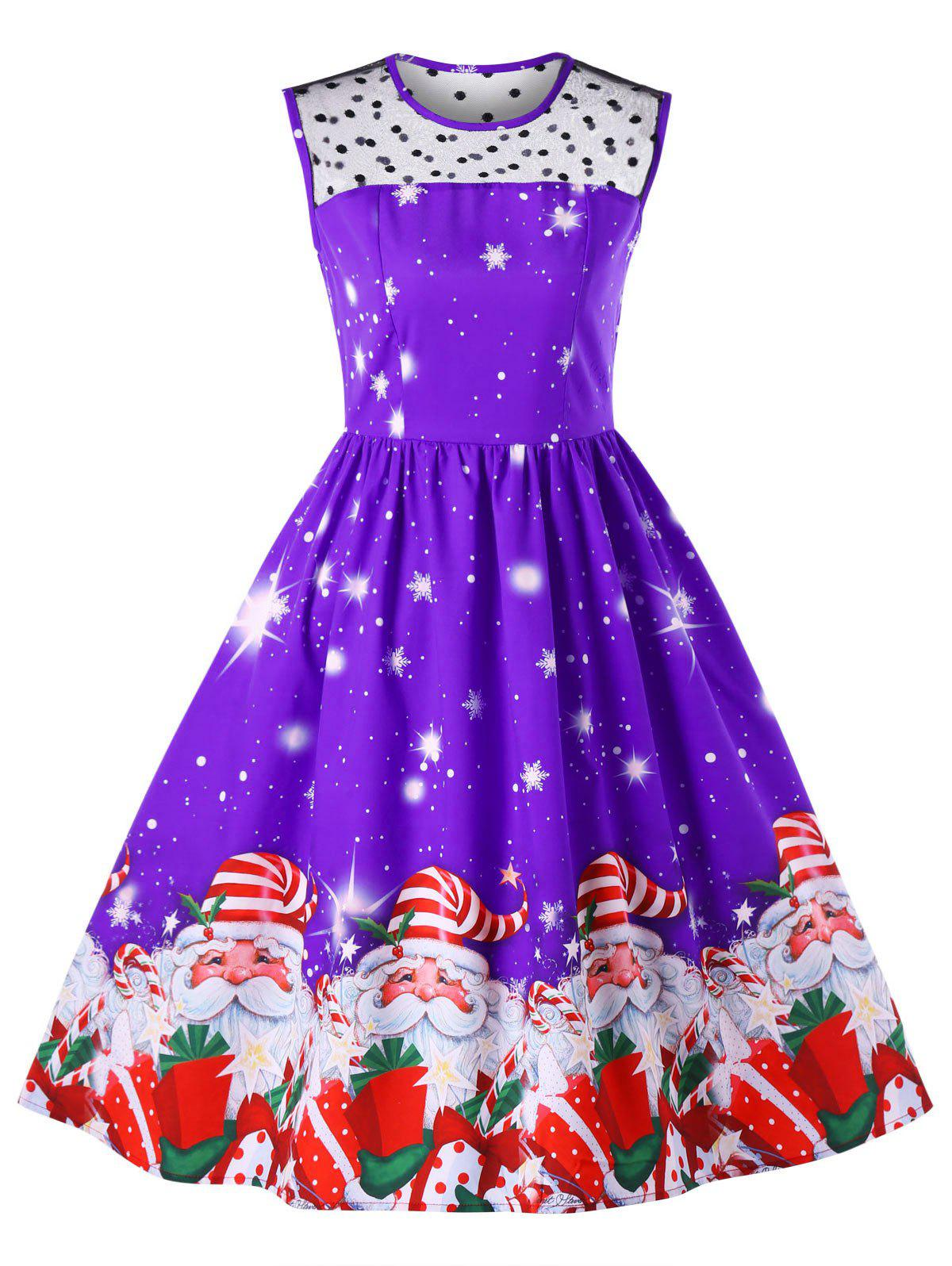 Trendy Christmas Mesh Insert Santa Claus Print Dress