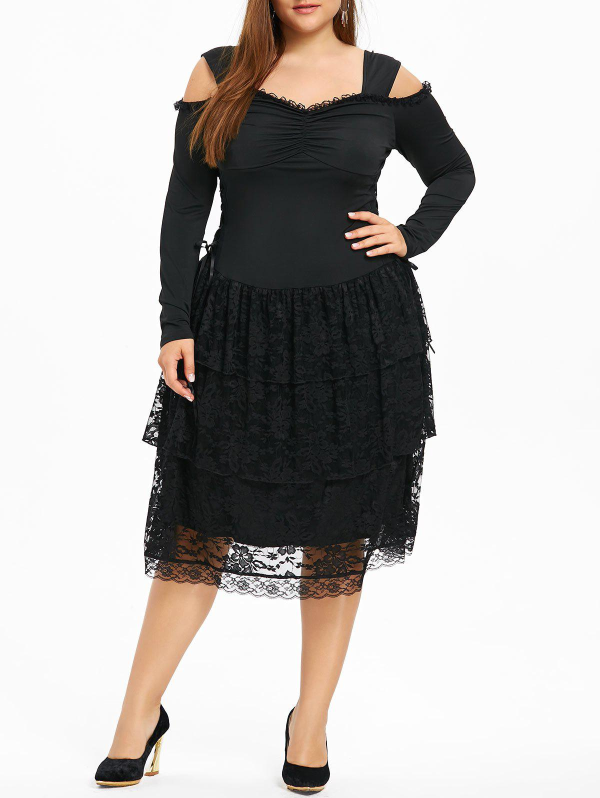Hot Plus Size Open Shoulder Layered Gothic Dress