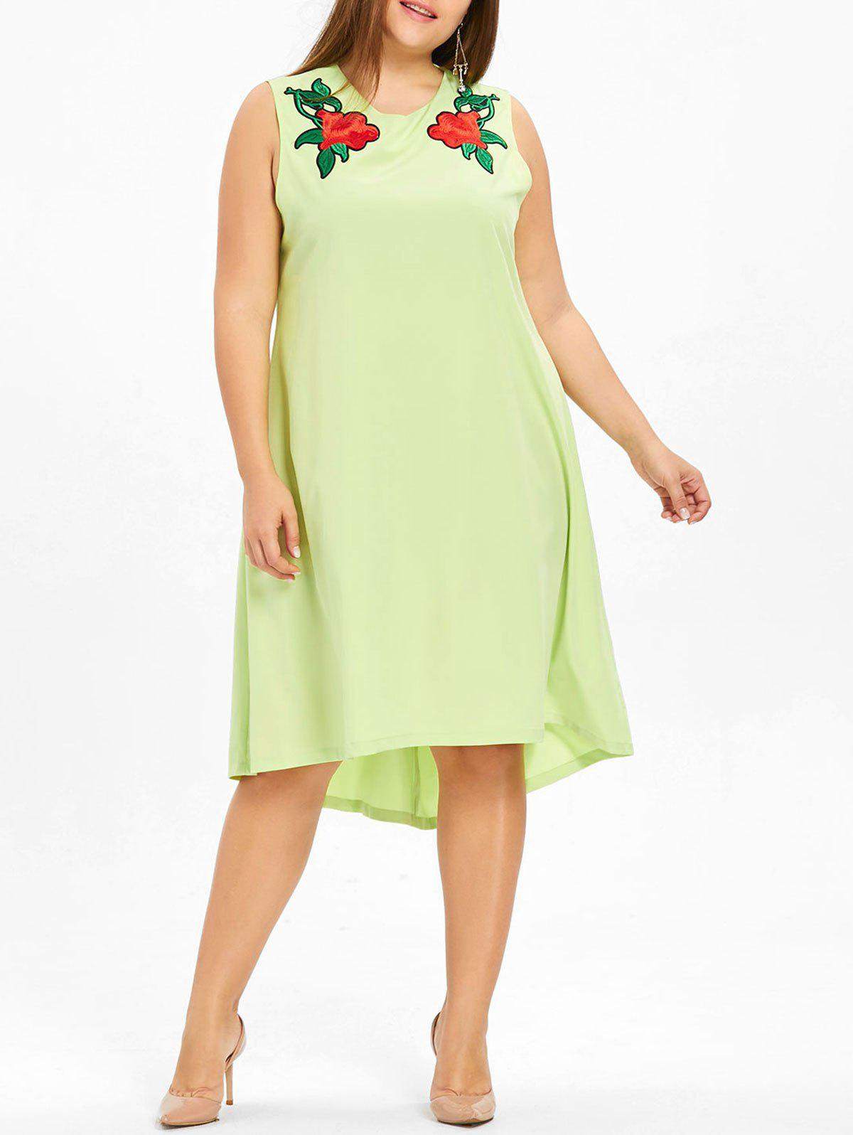 Best Floral Embroidered High Low Plus Size Dress