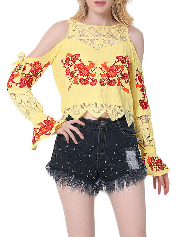 Latest Lace Insert Embroidered Cold Shoulder Blouse
