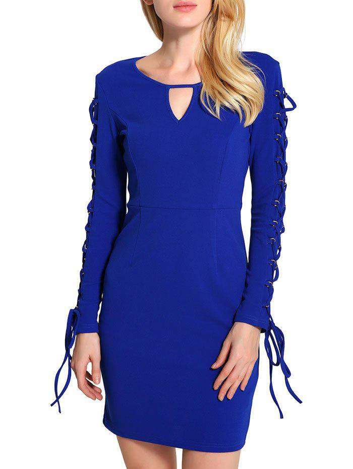 Fashion Keyhole Lace Up Mini Bodycon Dress