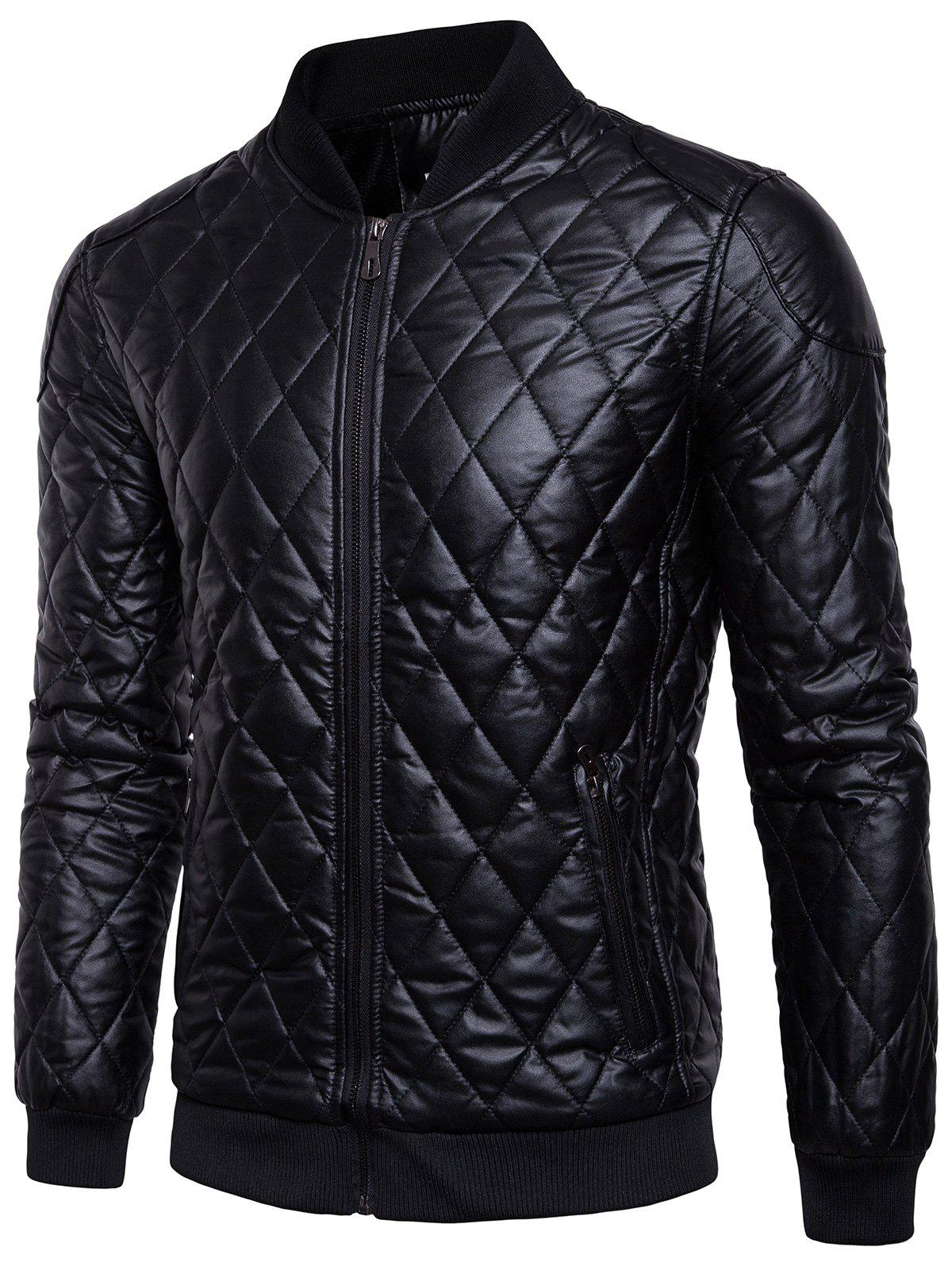 unbeatable price shop for authentic exceptional range of styles Fleece-lined Warm Argyle Faux Leather Jacket