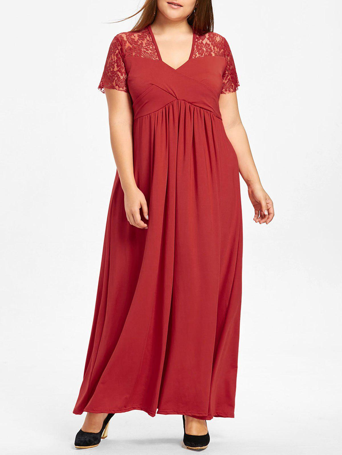 Hot Lace Yoke Surplice Plus Size Maxi Dress