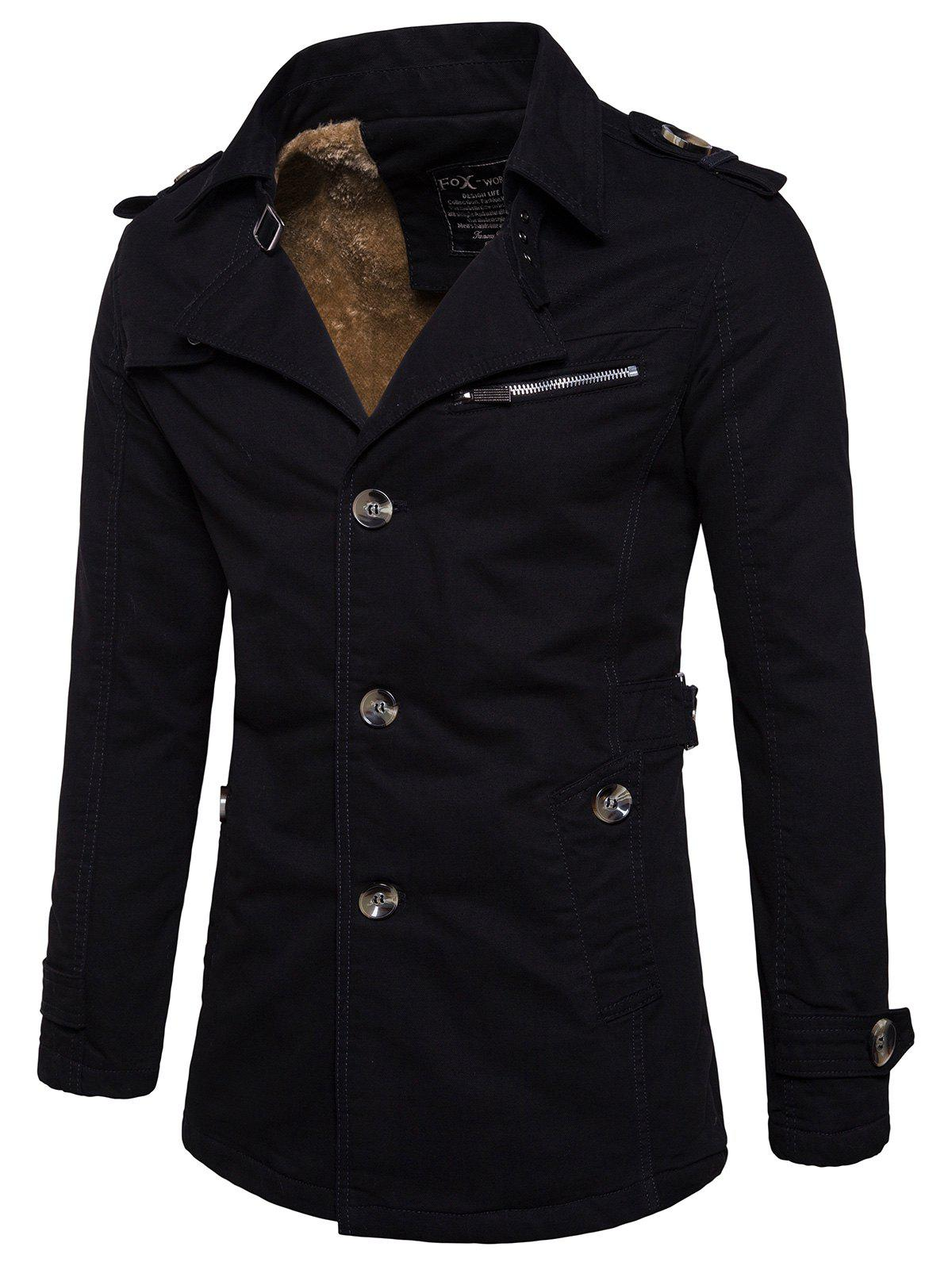 Hot Fur-lined Epaulet Single-breasted Jacket