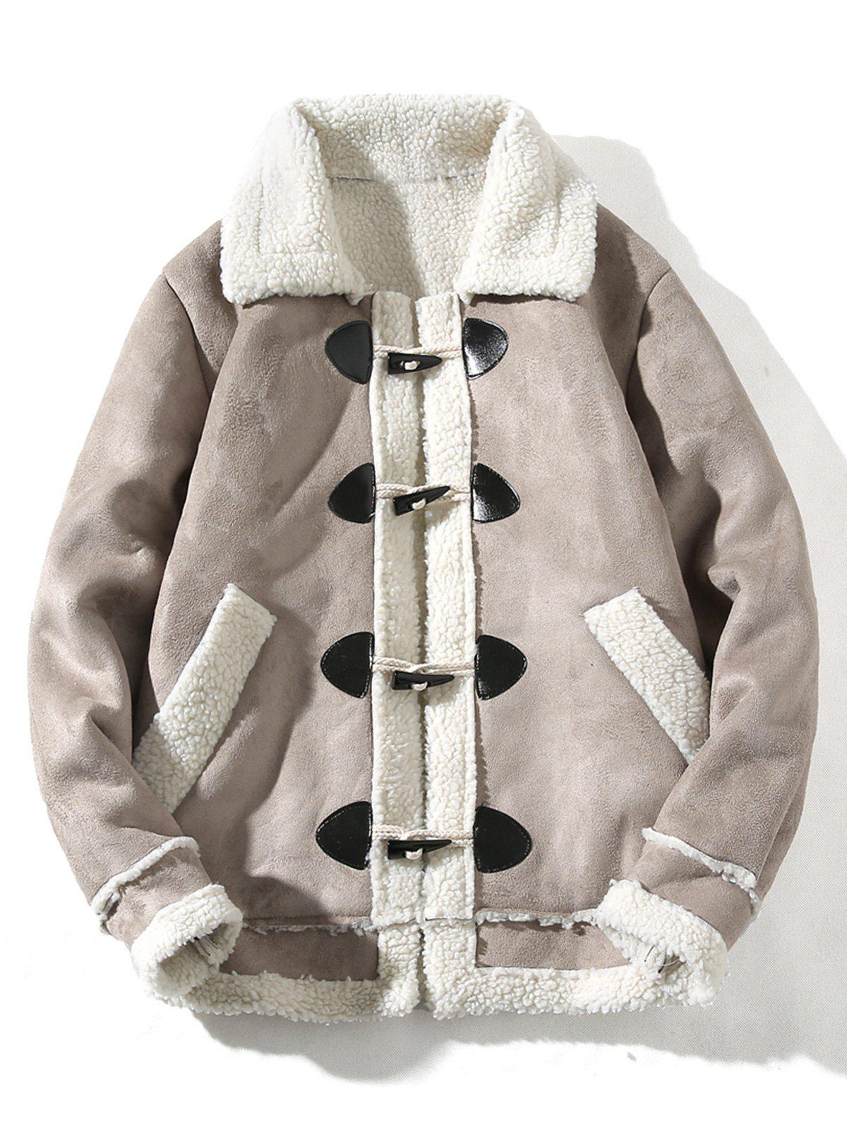 Fancy Turndown Collar Horn Button Faux Shearling Jacket