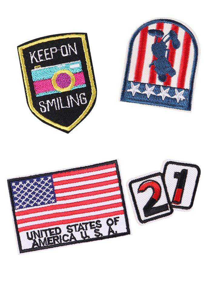 Latest 4PCS Star American Flag Design Embroidered Patches