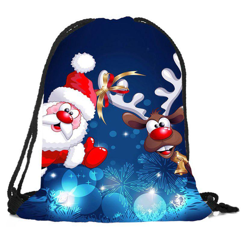 Fancy Santa Deer Pattern Christmas Gift Candy Bag Drawstring Backpack