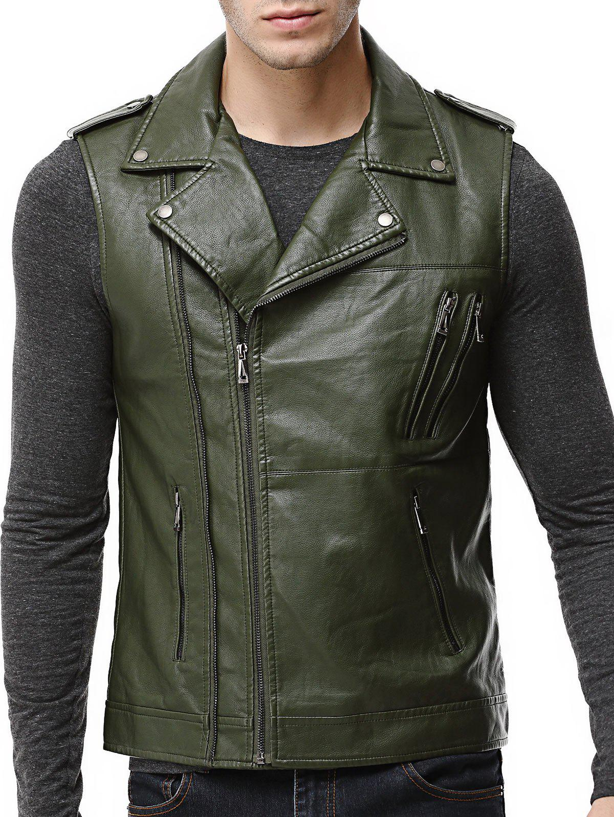 Cheap Asymmetrical Zip Epaulet Design Faux Leather Vest