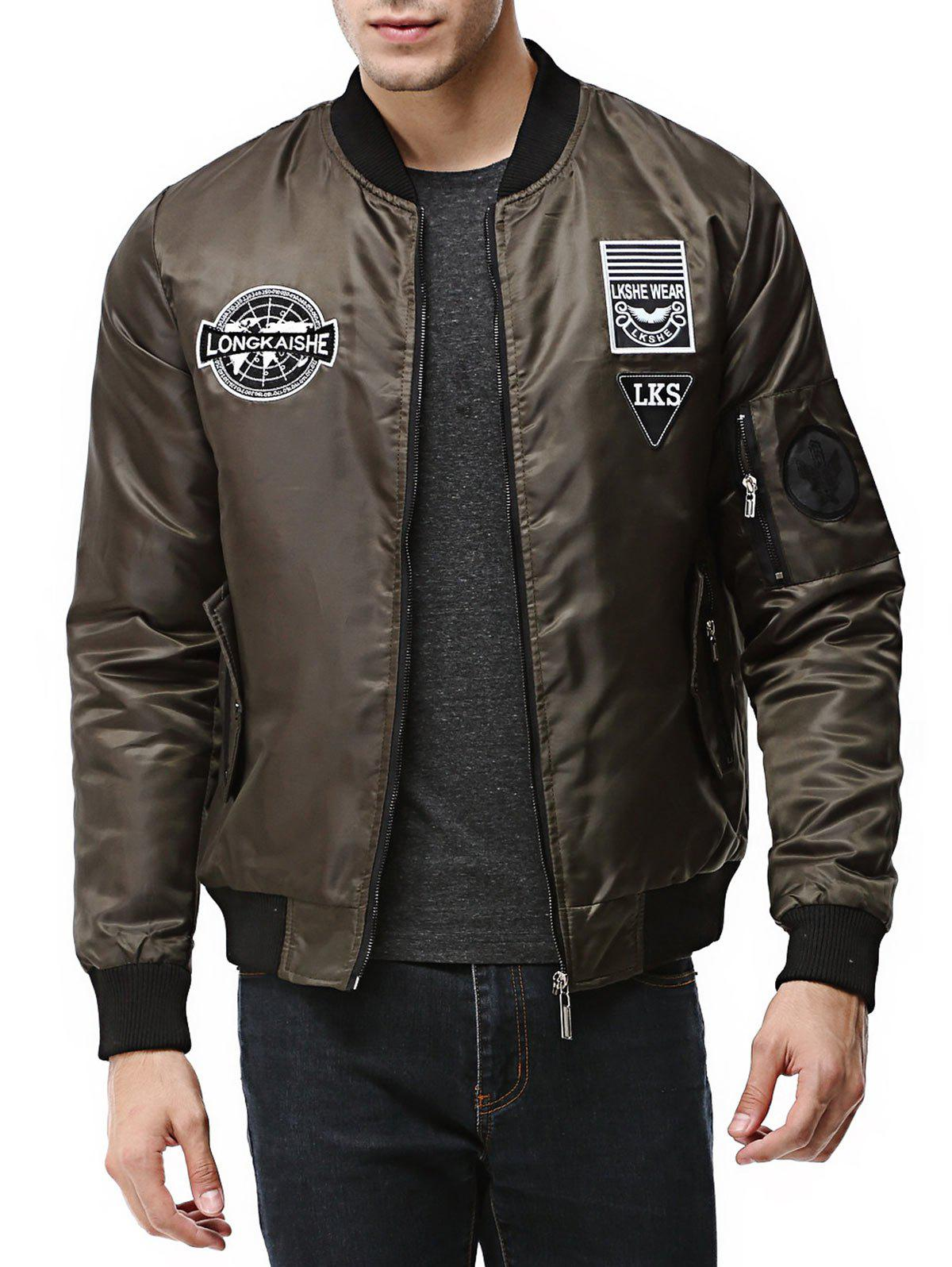 Sale Patch Design Zip Up Pilot Jacket