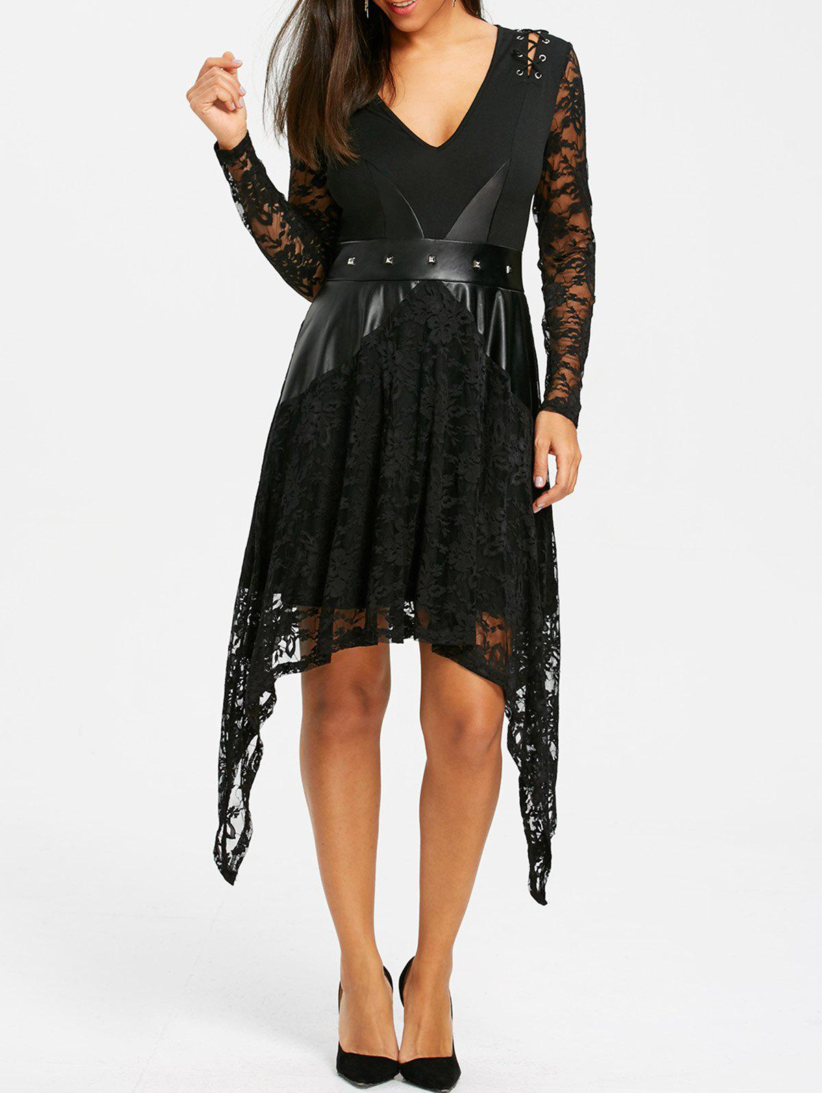 Hot Lace Up Crescent Hem Gothic Dress