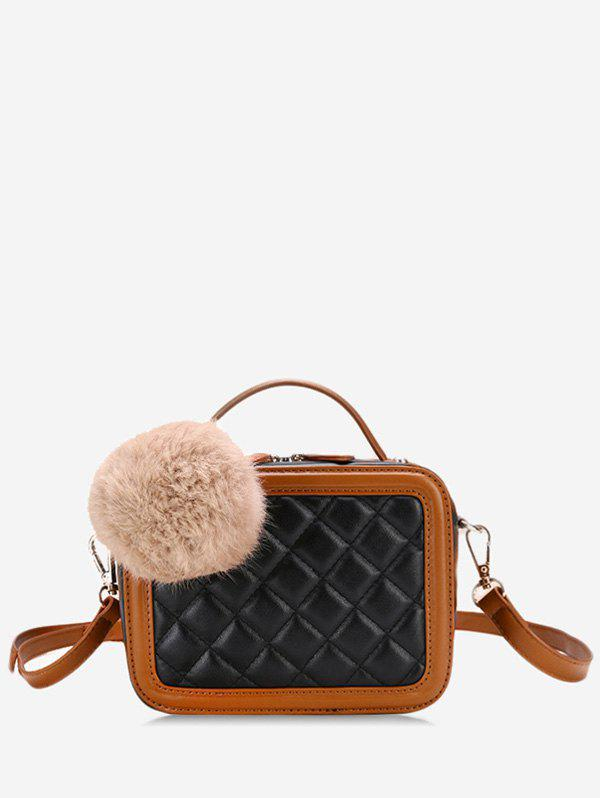 Store Color Block Pompom Quilted Crossbody Bag