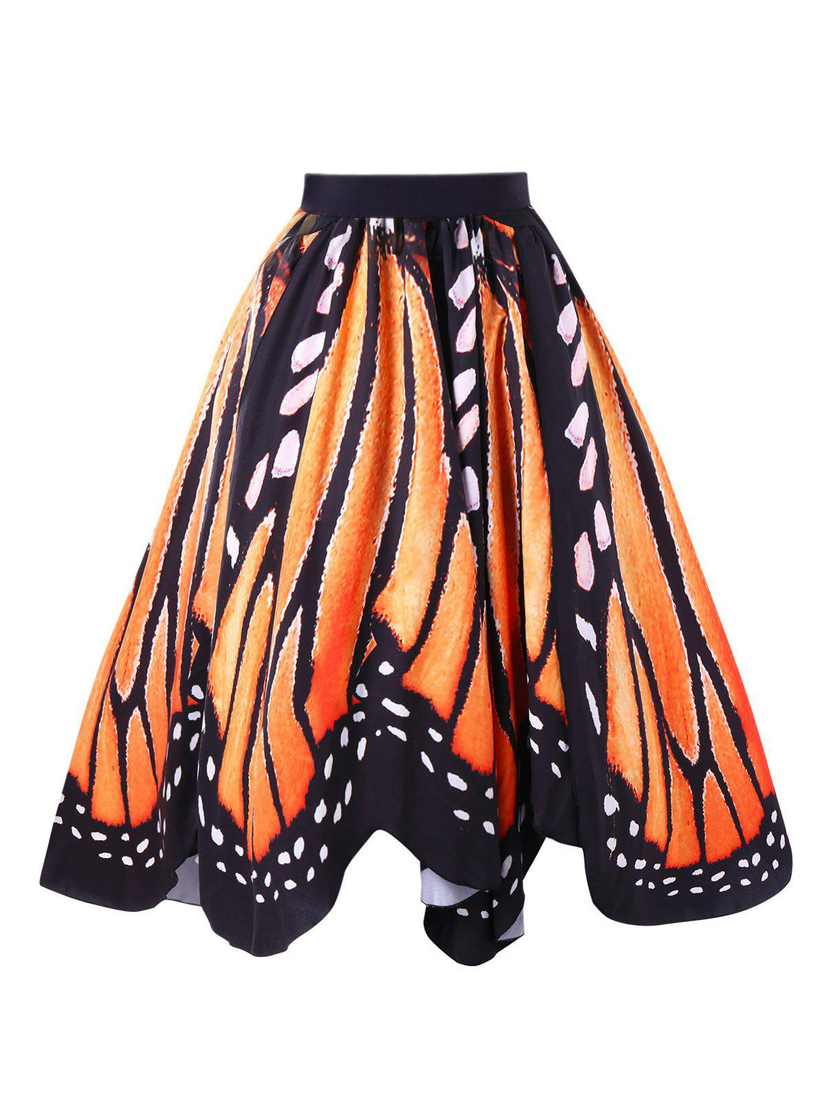 Sale Plus Size Butterfly Graphic Swing Skirt