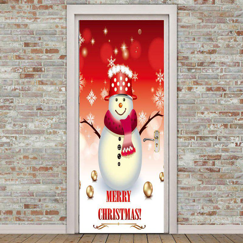 Hot Branches of Snowman Pattern Environmental Removable Door Stickers