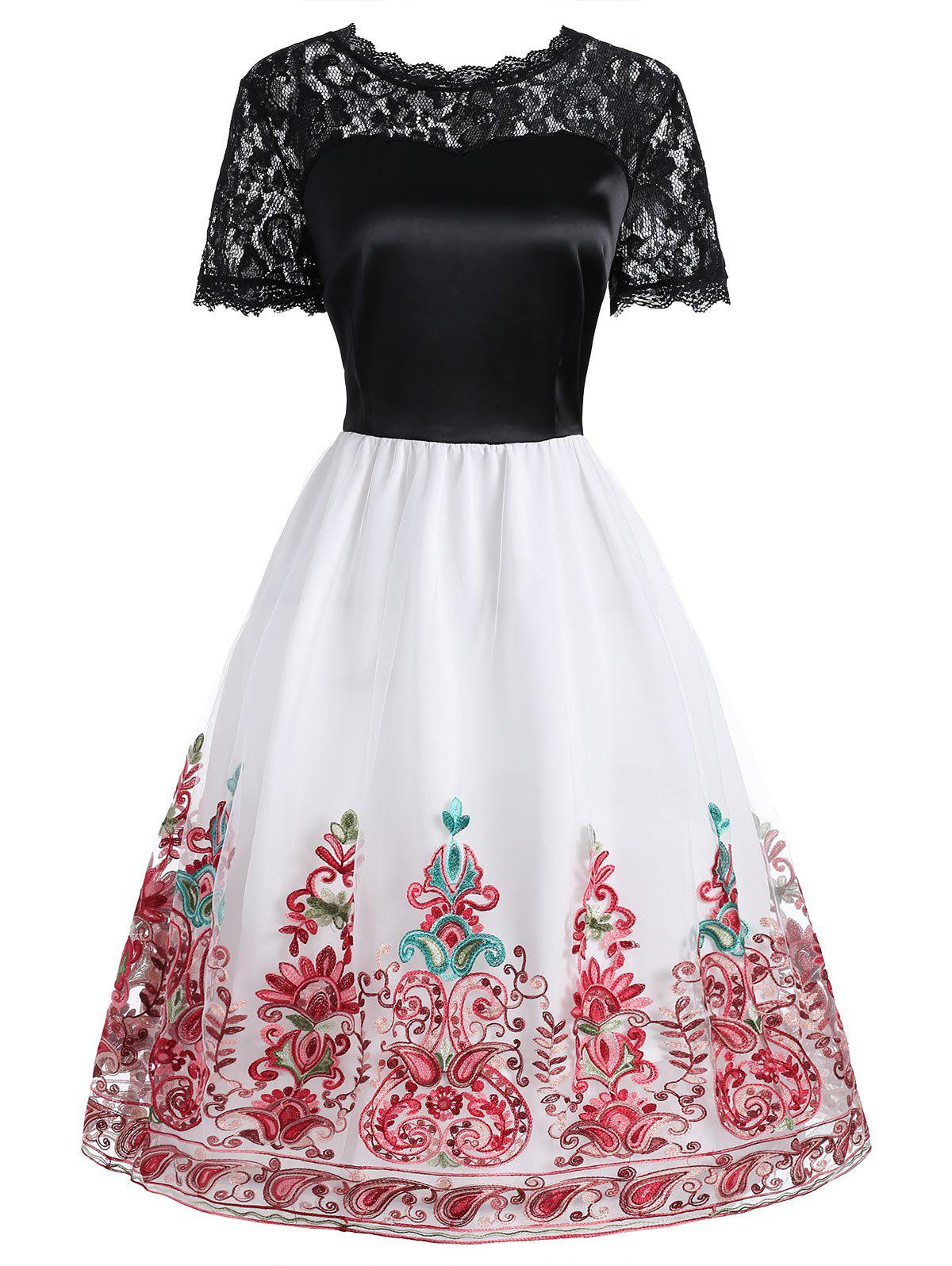 Discount Lace Panel Embroidered Mesh Vintage Dress