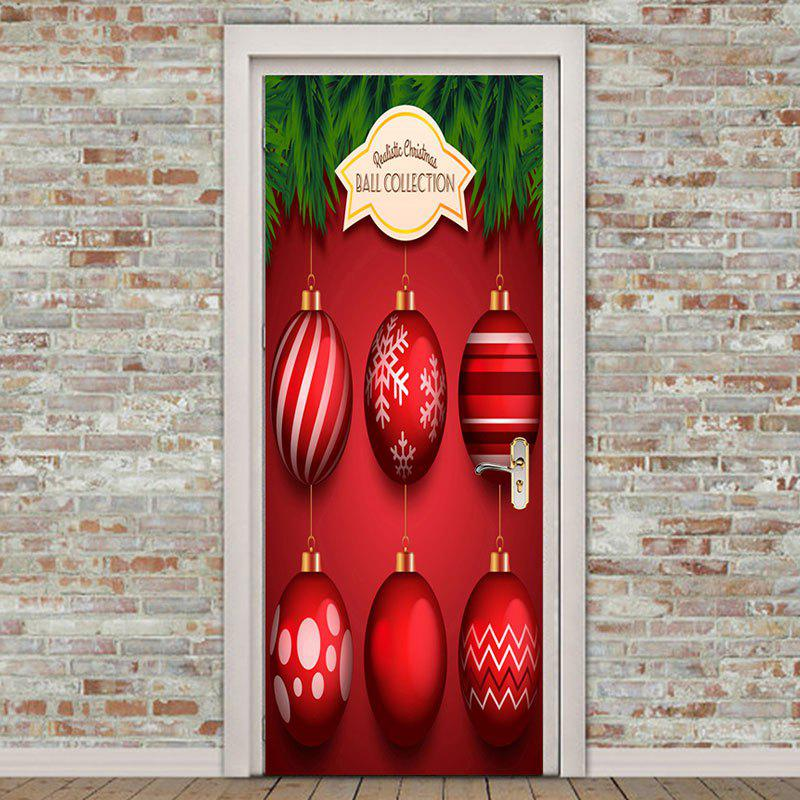 Shops Environmental Removable Christmas Red Balls Printed Door Stickers