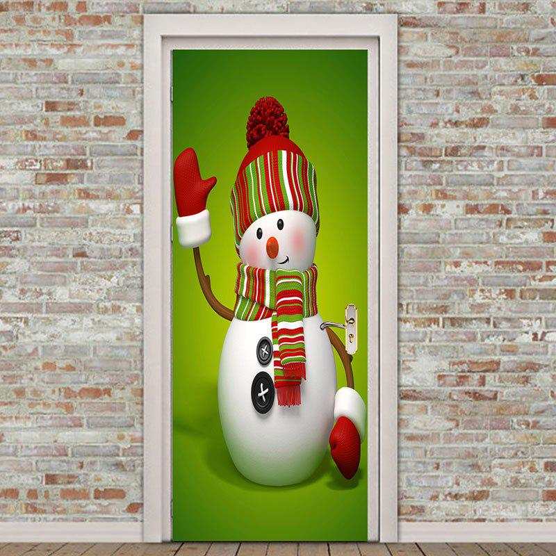 Outfit Christmas Greeting Snowman Pattern Environmental Removable Door Stickers