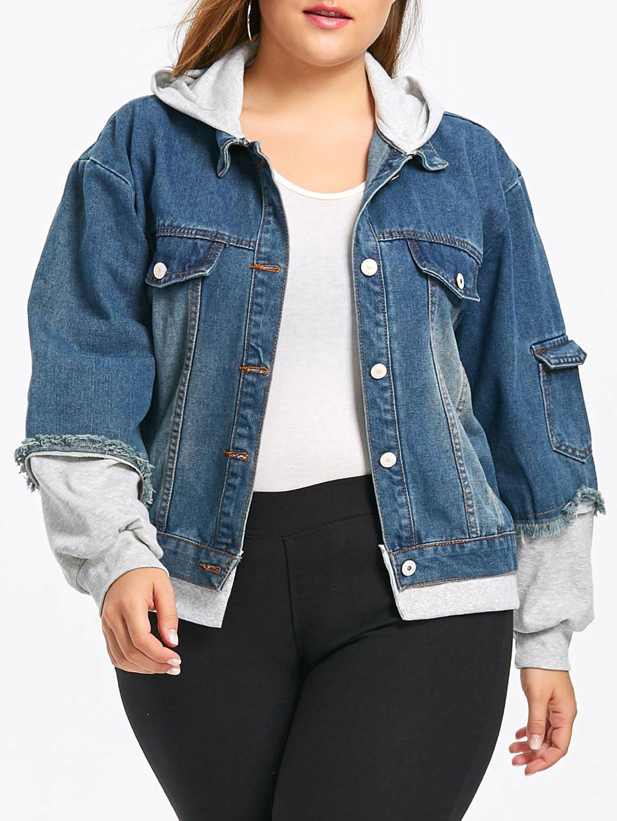 Outfits Light Wash Plus Size Hooded Denim Jacket