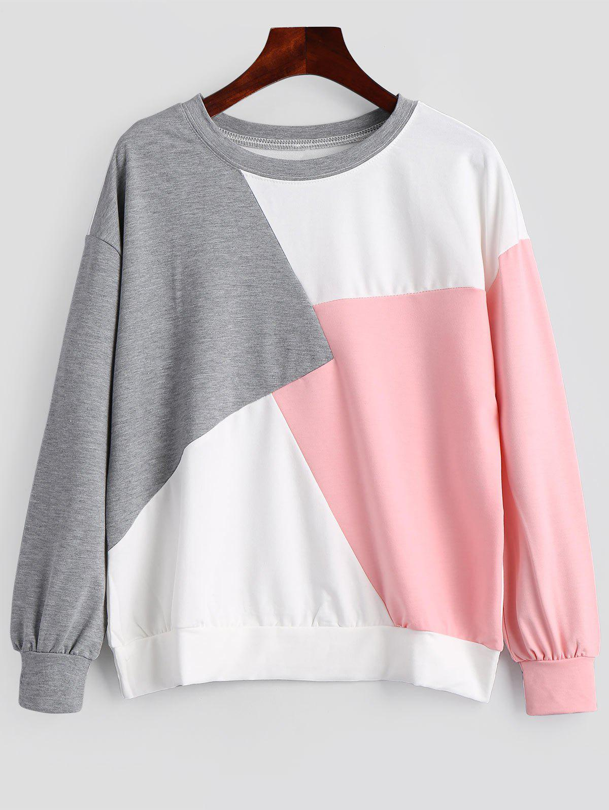 Sweat-shirt Contrastant Ras du Cou