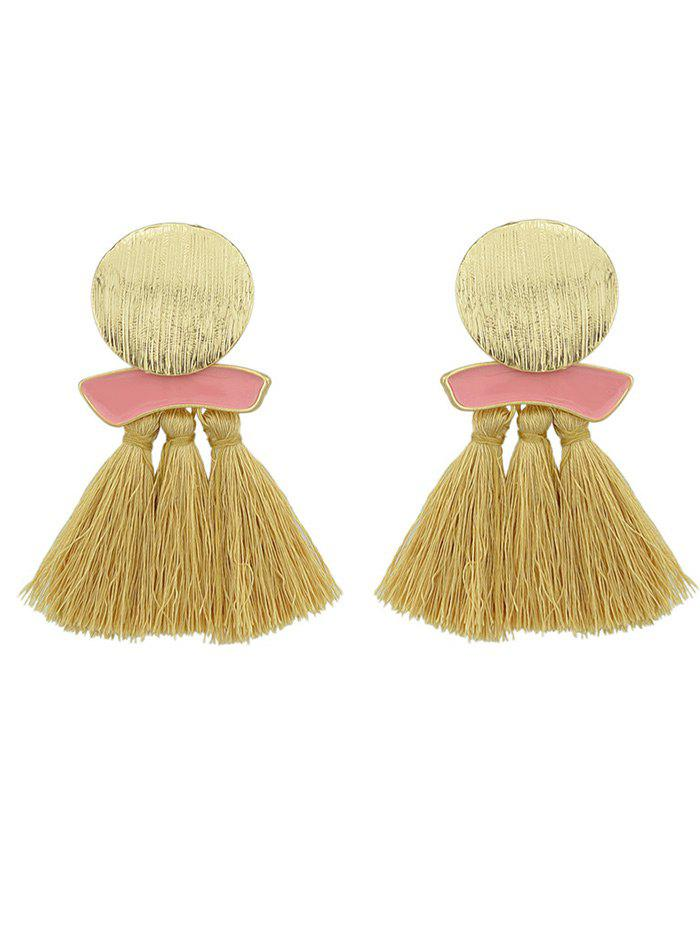 Online Metal Plate Exaggerated Earrings with Fringed