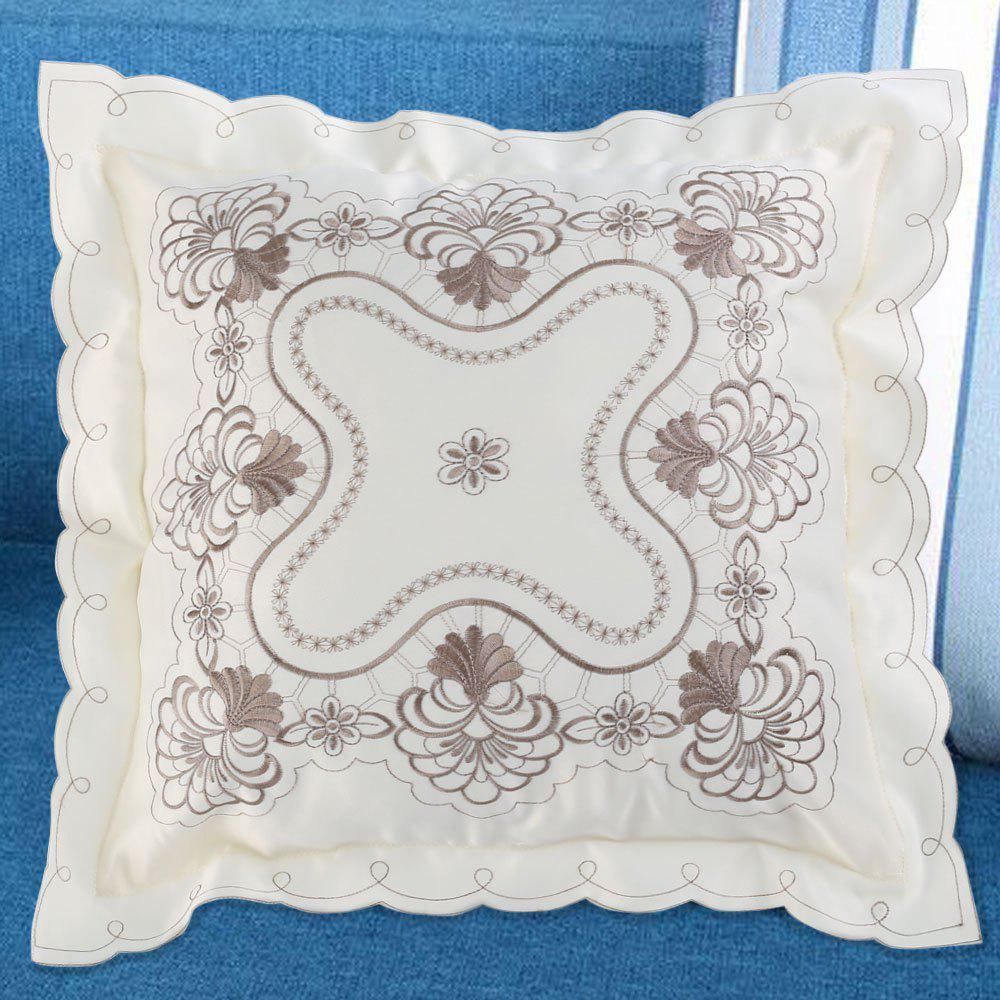 Polyester Embroidered Decorative Throw Pillow Case