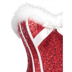 Sequined Christmas Feathers Trim Corset -