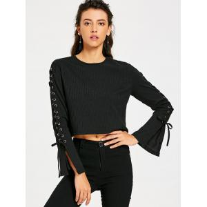 Ribbed Lace Up Sleeve Crop Top -
