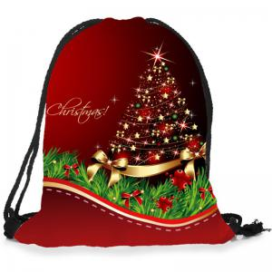 Christmas Ornaments Tree Pattern Candy Drawstring Storage Bag -