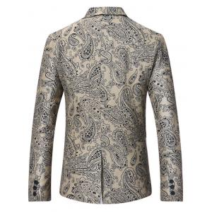 Lapel Single Breasted Paisley Print Linen Blazer -