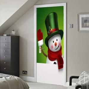 Environmental Removable Magic Hat Snowman Printed Door Stickers -