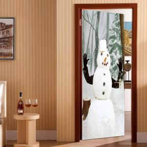 Forest Snowman Pattern Environmental Removable Door Stickers -