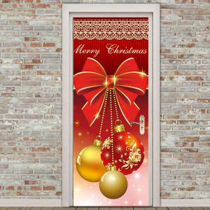 Environmental Removable Christmas Ornament Balls Printed Door Stickers -