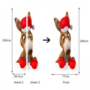 Environmental Removable Christmas Kangaroo Boxer Printed Door Stickers -