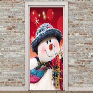 Christmas Home Decor Snowman Printed Environmental Removable Door Stickers -