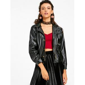Pockets Drop Shoulder Biker Jacket -