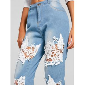 Lace Insert Destroyed Skinny Jeans -