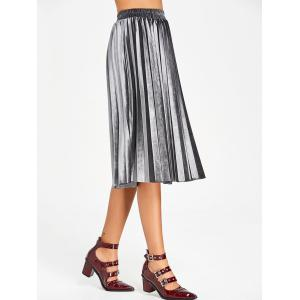 Velvet High Waisted Midi Pleated Skirt -