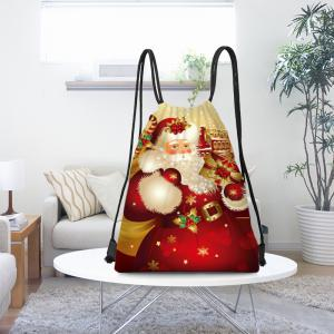 Santa Gift Pattern Christmas Candy Bag Drawstring Backpack -