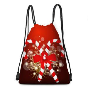 Candy Cane Patterned Drawstring Gift Storage Backpack -