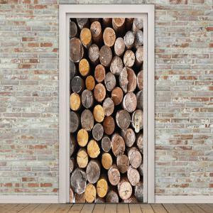 Accumulational Wood Printed Door Art Stickers -